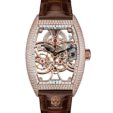 FRANCK MULLER CINTREE CURVEX ROSE GOLD SKELETON FULL DIAMONDS