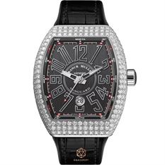 FRANCK MULLER VANGUARD V41 STEEL DIAMONDS BLACK DIAL